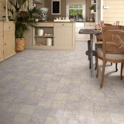 Marbella Tile Grey Residential Vinyl Sheet, Sold by 13.2 ft. Wide x Custom Length