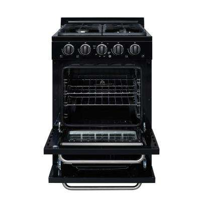 24 in. 3.1 cu. ft. Propane Off-Grid Range with Battery Ignition Sealed Burners in Black
