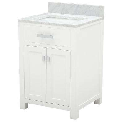 Madison 24 in. Vanity in Modern White with Marble Vanity Top in Carrara White and Matching Mirror