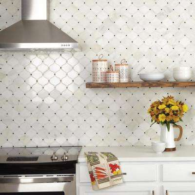 Premier Accents Cotton Arabesque 12 in. x 13 in. x 10 mm Stone Mosaic Floor and Wall Tile (0.92 sq. ft. / piece)
