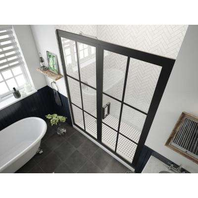 Gridscape Series 57.75 in. x 76 in. Framed Hinged Shower Door and Inline Panel in Black and Clear Glass with Handle