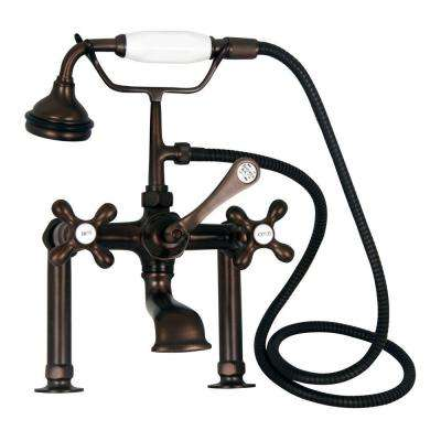 Metal Cross 3-Handle Claw Foot Tub Faucet with Handshower in Oil Rubbed Bronze