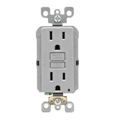 15 Amp 125-Volt Duplex Self-Test Slim GFCI Outlet, Gray
