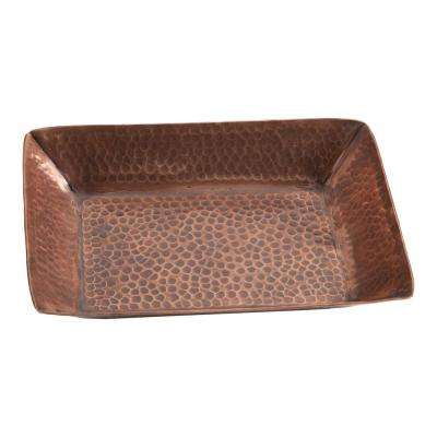 8-1/2 in. x 6-1/2 in. x 1-1/4 in. Hammered Copper Serving Tray