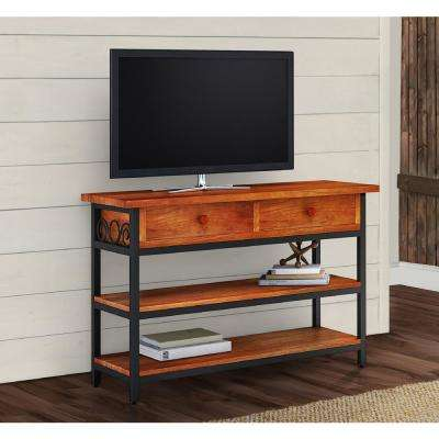 Artesian Brown Scrollwork TV Stand with Chestnut Finish Top