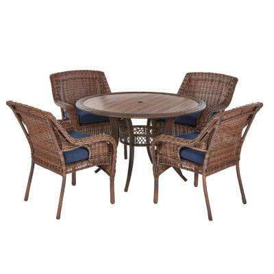 Cambridge Brown 5-Piece Wicker Outdoor Dining Set with Blue Cushions