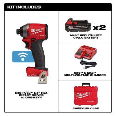 M18 FUEL ONE-KEY 18-Volt Lithium-Ion Brushless Cordless 1/4 in. Hex Impact Driver Kit W/ (2) 2.0Ah Batteries, Hard Case