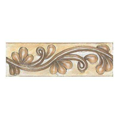 Cristallo Glass Smoky Topaz 3 in. x 8 in. Glass Vine Accent Wall Tile