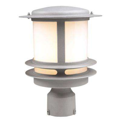 1-Light Outdoor Silver Post Light with Opal Glass