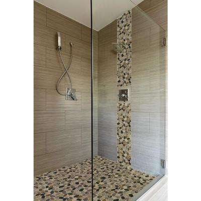 Mix River Rock 12 in. x 12 in. x 10 mm Tumbled Marble Mesh-Mounted Mosaic Floor and Wall Tile