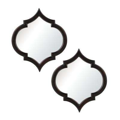 Horizonte 2 Piece 23 in. x 21 in. Black With Hand Rubbed Silver Edging Framed Mirror Set