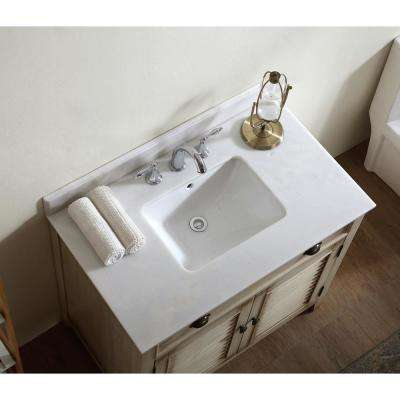 Palm Beach 36 in. W x 21.75 in. D Vanity in Distressed Beige with Marble Vanity Top in White with White Basin