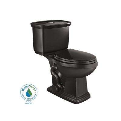 2-piece 1.0 GPF/1.28 GPF High Efficiency Dual Flush Elongated Toilet in Black
