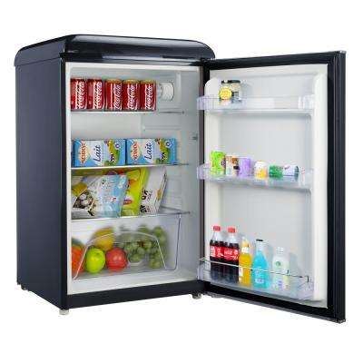 4.4 cu. ft. Retro Mini Refrigerator Single Door Fridge Only in Black