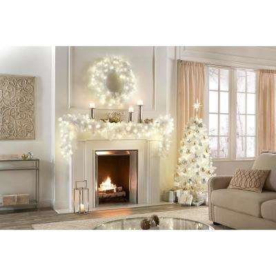 5 ft. Pre-Lit LED Glossy White North Hill Spruce Artificial Christmas Tree with 120 Warm White Lights