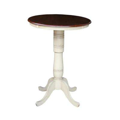 Solid Wood 30 in. Round 42 in. High Pedestal Table in Almond and Espresso