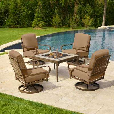 Oak Cliff Brown 5-Piece Steel Outdoor Patio Fire Pit Conversation Seating Set with CushionGuard Toffee Tan Cushions