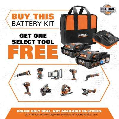 18-Volt OCTANE Lithium-Ion (2) 3.0 Ah Batteries and Charger Kit w/Free OCTANE Brushless Jig Saw