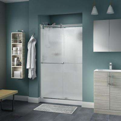 Lyndall 48 in. x 71 in. Semi-Frameless Contemporary Sliding Shower Door in Chrome with Rain Glass