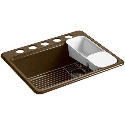 Riverby Undermount Cast Iron 27 in. 5-Hole Single Bowl Kitchen Sink in Black 'n Tan