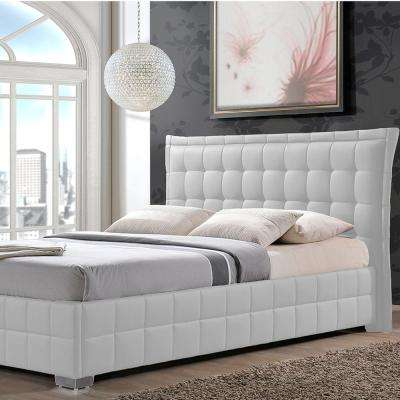 Monaco Contemporary White Faux Leather Upholstered King Size Bed