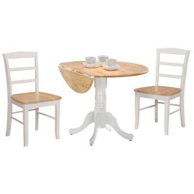 3.5 ft. Round Drop Leaf Solid Wood Table in White / Natural