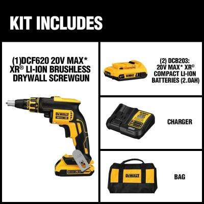 20-Volt MAX XR Lithium-Ion Cordless Brushless Drywall Screw Gun Kit with (2) Batteries 2Ah, Charger and Contractor Bag