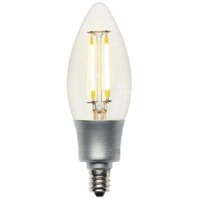 40W Equivalent Soft White (2,700K) Decorative B11 Torpedo Candelabra Base Dimmable Filament LED Light Bulb