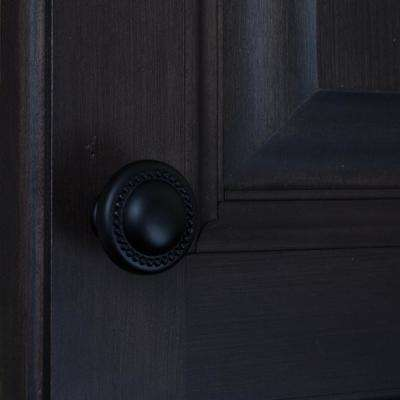 1-1/4 in. Dia Matte Black Round Beaded Cabinet Knob (10-Pack)
