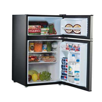 3.1 cu. ft. Mini Refrigerator with Dual Door True Freezer in Stainless Look