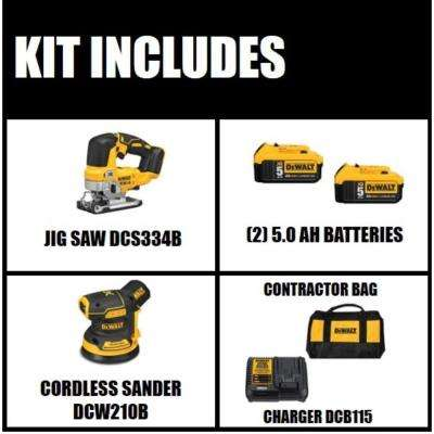 20-Volt MAX Li-Ion Cordless Brushless Jigsaw(Tool-Only) w/ Bonus 5 in. Sander(Tool-Only), Battery 5Ah(2), Charger & Bag