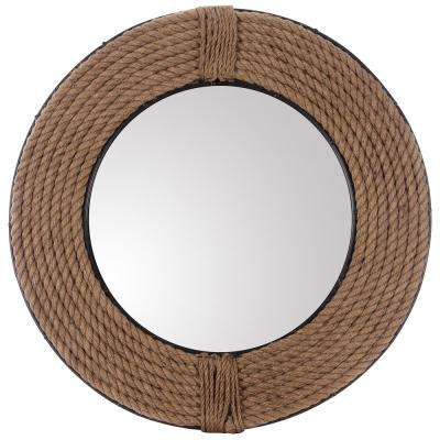 27 in. x 27 in. Round Rope and Metal Mirror