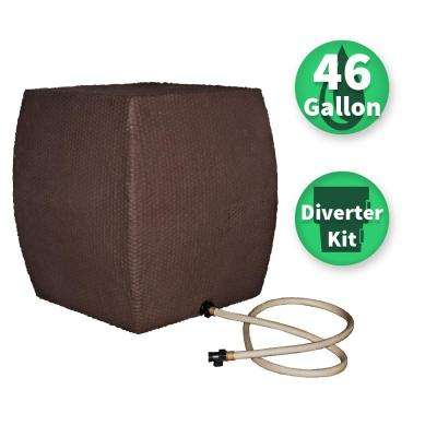 46 Gal. WaterBoy Brown Wicker Rain Collector with Diverter System