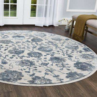 Kenmare Gray/Blue 7 ft. 10 in. Round Indoor Area Rug