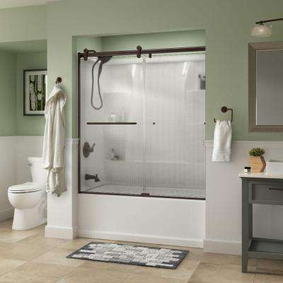 Simplicity 60 in. x 58-3/4 in. Semi-Frameless Contemporary Style Sliding Tub Door in Bronze with Droplet Glass