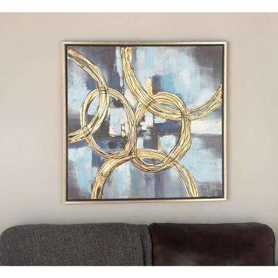 32 in. x 32 in. Abstract Linked Circles in Yellow and Black Framed Hand Painted Canvas Wall Art
