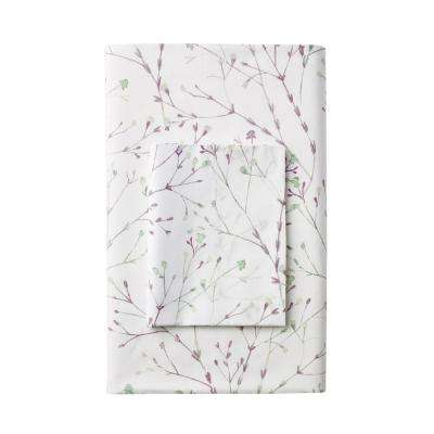 Painters Sprig 300-Thread Count Organic Cotton Percale Fitted Sheet