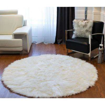 Arlington Off White 6 ft. x 6 ft. Faux Sheepskin Circular Indoor Area Rug