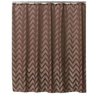 72 in. Brown Chevron Fabric Shower Curtain