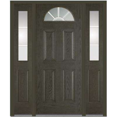 68.5 in. x 81.75 in. Classic Clear Glass GBG 1/4 Lite 4 Panel Finished Fiberglass Oak Exterior Door with Sidelites