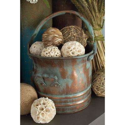 Distressed Copper and Verdigris Metal Round Drum Planters with Handle (Set of 3)