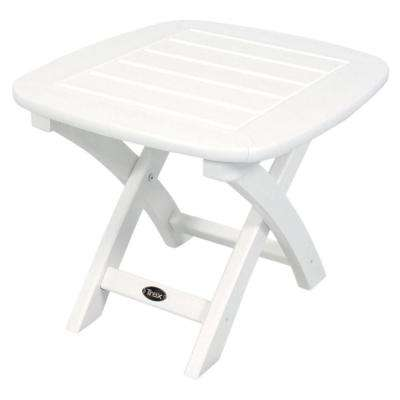 Yacht Club 21 in. x 18 in. Classic White Patio Side Table