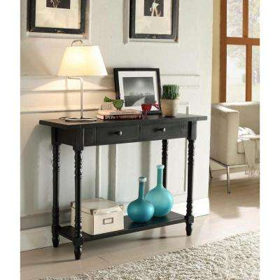 Simplicity 29.5 in. x 37.75 in. Two Drawer Entry Table in Black