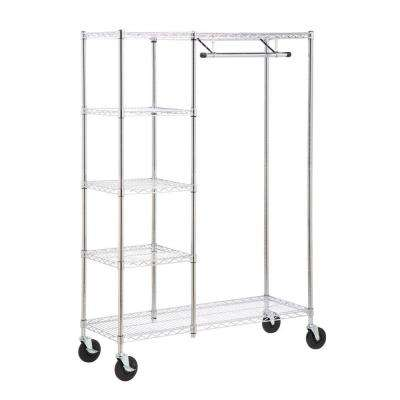 Heavy Duty Steel Rolling Closet Rack in Chrome