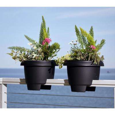 12 in. x 9 in. Casper White Plastic Deck Rail Planter