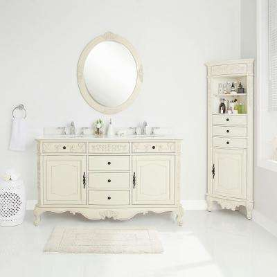 Winslow 60 in. W x 22 in. D Vanity in Antique White with Marble Vanity Top in White with White Sinks