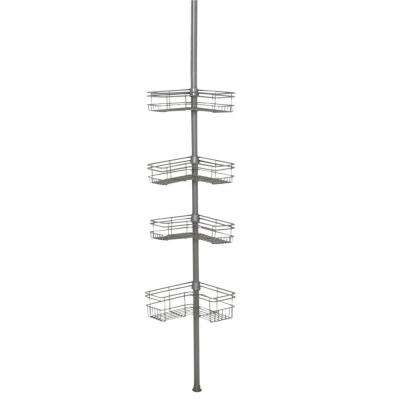 Tension Mount Steel Shower Pole Caddy in Satin Nickel