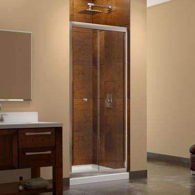 Butterfly 36 in. x 36 in. x 76.75 in. Framed Sliding Shower Door in Chrome with Center Drain Base and Back Walls Kit