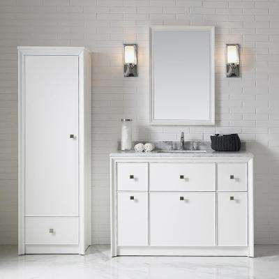 Parrish 48 in. W x 22 in. D Bath Vanity in Bright White with Marble Top in Grey/White