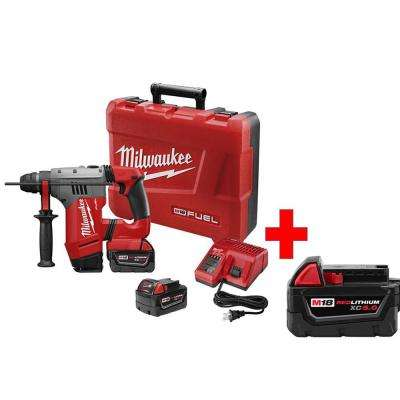 M18 FUEL 18-Volt Lithium-Ion Brushless 1-1/8 in. SDS+ Rotary Hammer Kit with Free M18 5.0Ah Extended Capacity Battery